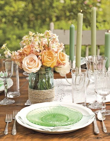 Centerpiece idea: Wrap a Mason or Ball jar with rope and ill with fresh flowers.: Idea, Tables Sets, Glasses, Green, Colors, Candles, Mason Jars Centerpieces, Flowers, Center Pieces