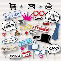 Partido Photo Booth Props imprimible - fiesta de cumpleaños para imprimir, cumpleaños partido foto cabina, apoyo de Internet, Popular Hashtag Prop, Prop de Emoji