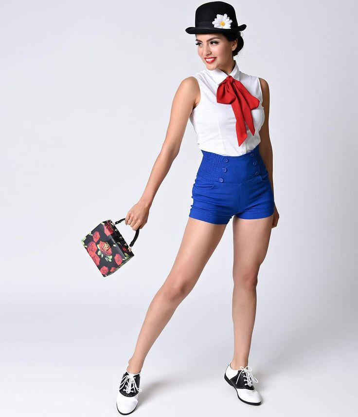 1950s Shorts History Retro Style Royal Blue High Waist Stretch Shorts $28.00 AT vintagedancer.com