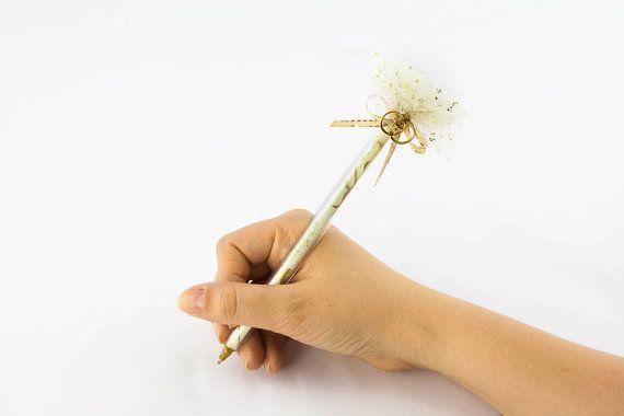 Personalized Glass Gift Pen  Wedding Rings by BijouGlass on Etsy