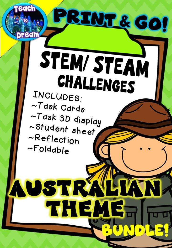Are you looking for an easy way to incorporate STEM/ STEAM into your curriculum? Here is the stress free approach! This bundle of steam and stem activities have been bundled by AUSTRALIAN THEME. 21 pages for $6!