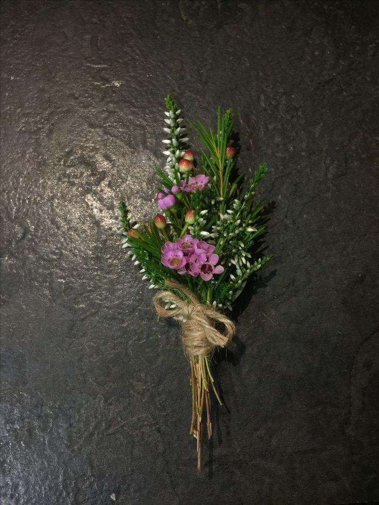 Boutonniere: Cerise Pink Wax Flower, White Heather