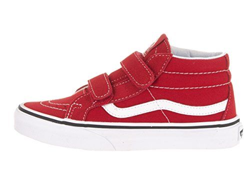 Vans Kid's/youth Shoes Sk8-mid Reissue Velcro Red Fashion Sneakers - Feel the love for the classics as you roll into the groovewith the essential Vans SK8-Mid Reissue shoe!. Vulcanized building for convenience and sturdiness Signature waffle outsole for enduring feel Padded collar and heel counters for assistance and versatility Velcro Strap