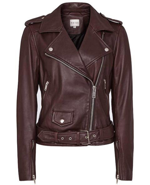 Reiss leather bomber jacket in maroon.