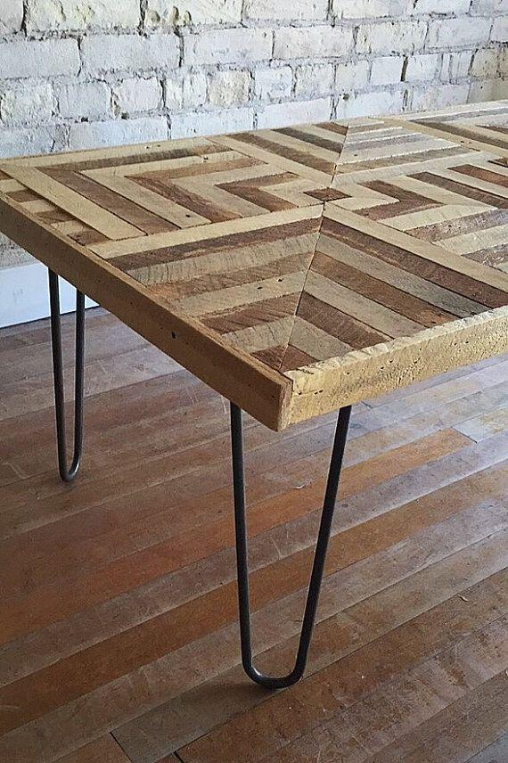 Recuperada madera mesa, patas de la horquilla, listón, geométricas, diseño, ilusión óptica 3D, 2