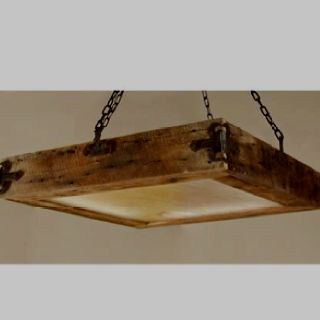 Rustic light Idea- if I could find the right hardware,  and using flourescent fixtures this wouldn't be too hard to make....could also add hooks & make it a pot holder for over a kitchen island