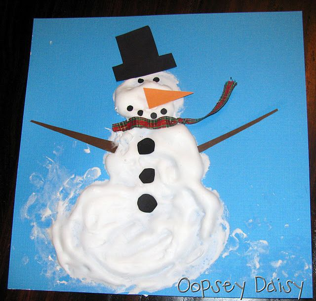 Puffy Snowman  * Mix equal parts of shaving cream and Elmer's glue.  The mixture dries puffy just like this.  * Use your fingers to spread the shaving cream mixture and create your snowmen on blue cardstock.  * Add cardstock pieces to form the eyes, nose, mouth, hat, and arms.  ( use ribbon for the scarf.)