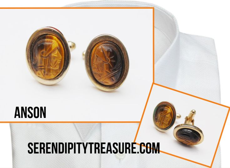 Excited to share the latest addition to my #etsy shop: Carved Tiger Eye Cuff links - Signed Anson -brown Gemstone - cameo Soldier face - Men cufflinks - http://etsy.me/2obB2Ri #accessories #cufflinks #unisexadults #gold #carvedgemstone #greenscarab #signedanson #ansonc