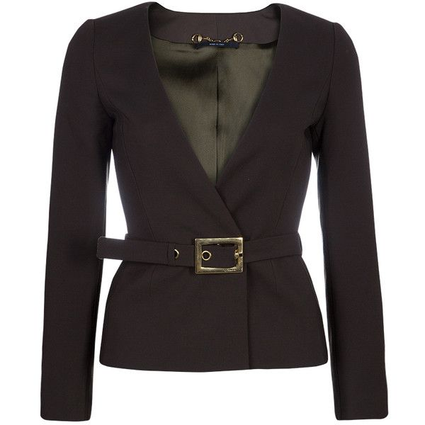 Gucci Olive Green Belted Blazer XS ❤ liked on Polyvore featuring outerwear, jackets, blazers, green military jackets, long sleeve blazer, green camo jacket, waist belt and olive green jackets
