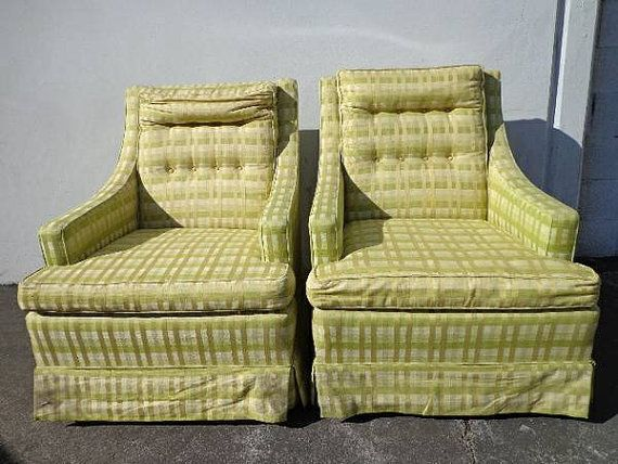 super cool set of vintage lounge armchairs club lounge chair seating covered in green stripe fabric with mid century shape and style
