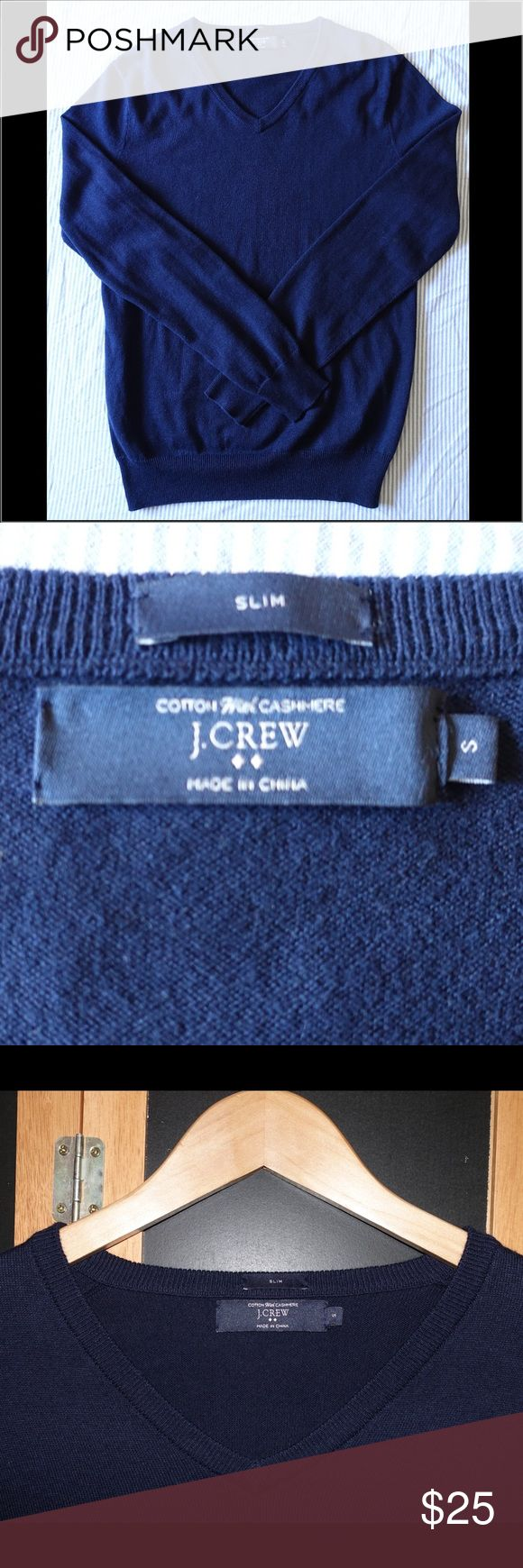 NWOT J. Crew Men's V Neck Pullover Sweater - Small For sale is a new without tag J. Crew Men's V Neck Cotton/Cashmere Sweater in Navy Blue Color and sized Small. J. Crew Sweaters V-Neck