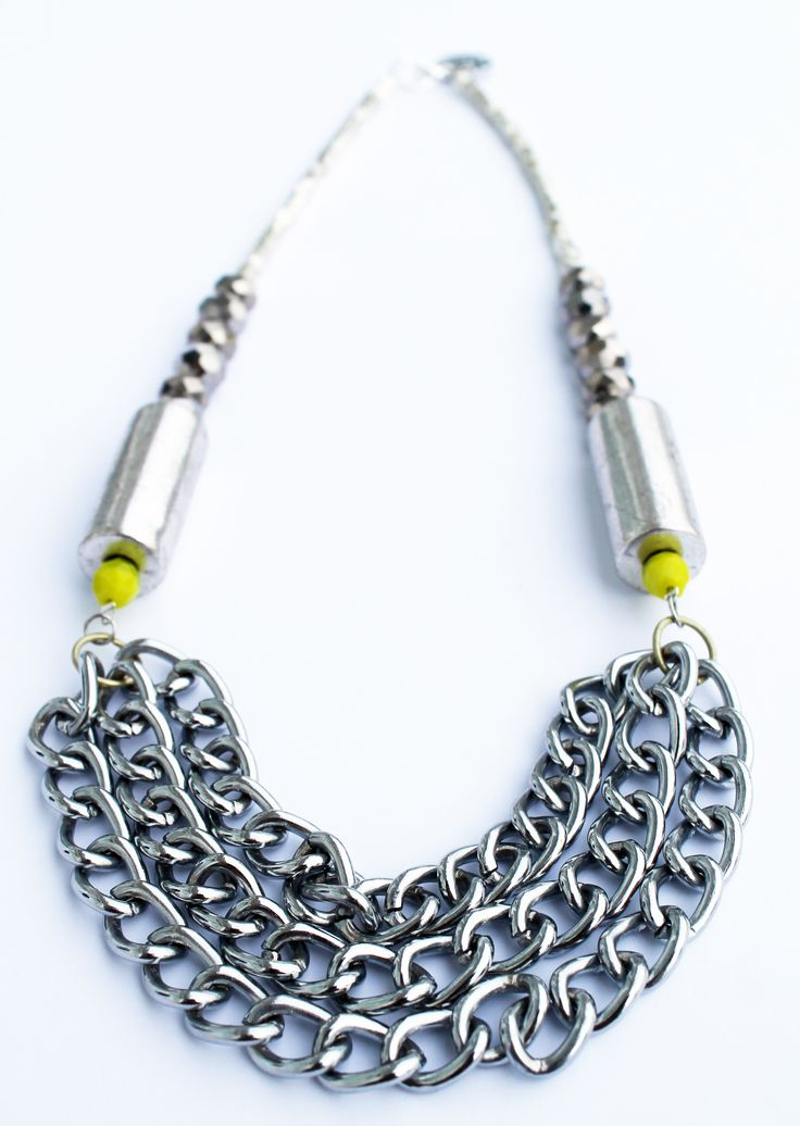 One of a kind chain statement necklace - heavy gunmetal silver chain, shiny crystals and a bright pop of lime.  Handmade in Wellington, NZ, by Shh by Sadie designer Sadie Hawker. Shhbysadie.com