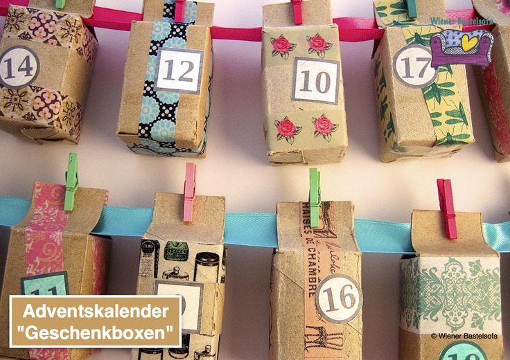 Adventskalender Geschenkboxen aus WC-Papier-Rollen, Upcycling, Recycling, Weihnachtsdeko, basteln  mit Kindern, Weihnachten, Geschenkverpackung, Gutschein, Adventsdeko, Adventkalender, WC-Rolle, Klopapierrolle, WC-Papierrolle