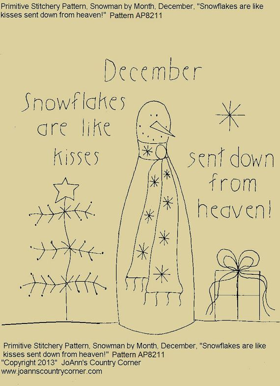 "Primitive Stitchery E-Pattern Rolling Pin Snowman by Month ""December"", ""Snowflakes are like kisses sent down from heaven."" on Etsy, $2.00"