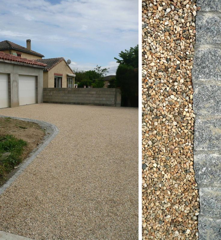 Allée en dalles stabilisatrices de graviers et pavés granit | Constans Paysage