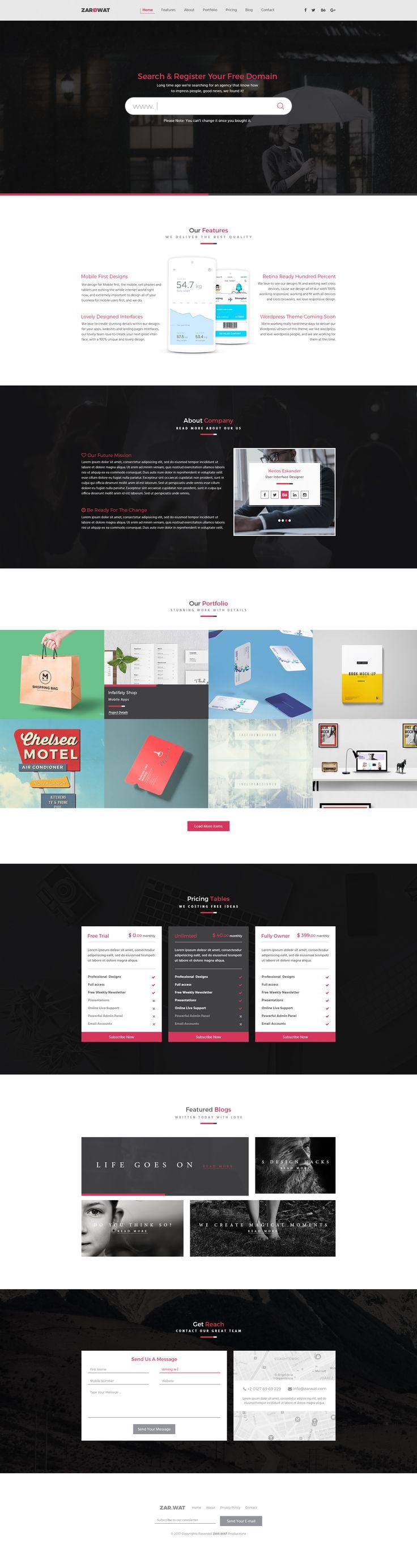 Zarwat Creative One Page PSD Template by kerlos236 | ThemeForest