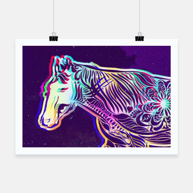Check out this amazing #artwork by #Bizzartino on @live_heroes: #Beautiful #psychedelic #art #horse #nature #trippy #dark #night #horse #Poster