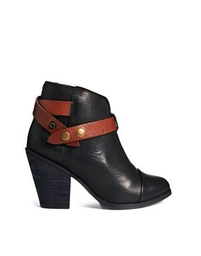 Image 1 of Steve Madden Strapped Heeled Black Ankle Boots