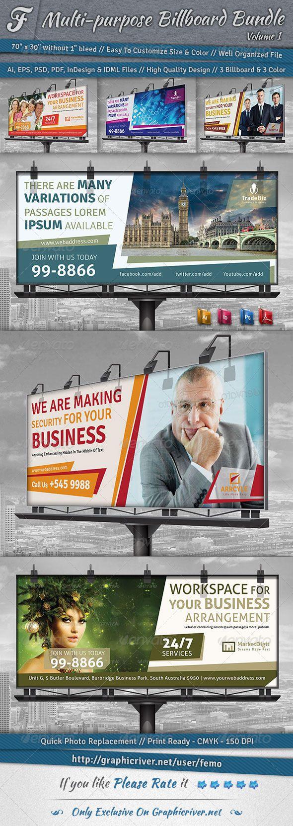 Real estate billboard design samples - Multi Purpose Billboard Bundle Volume 1 Real Estate Servicesai Illustratorsignage Designhealth Insuranceprint Templatesbusiness