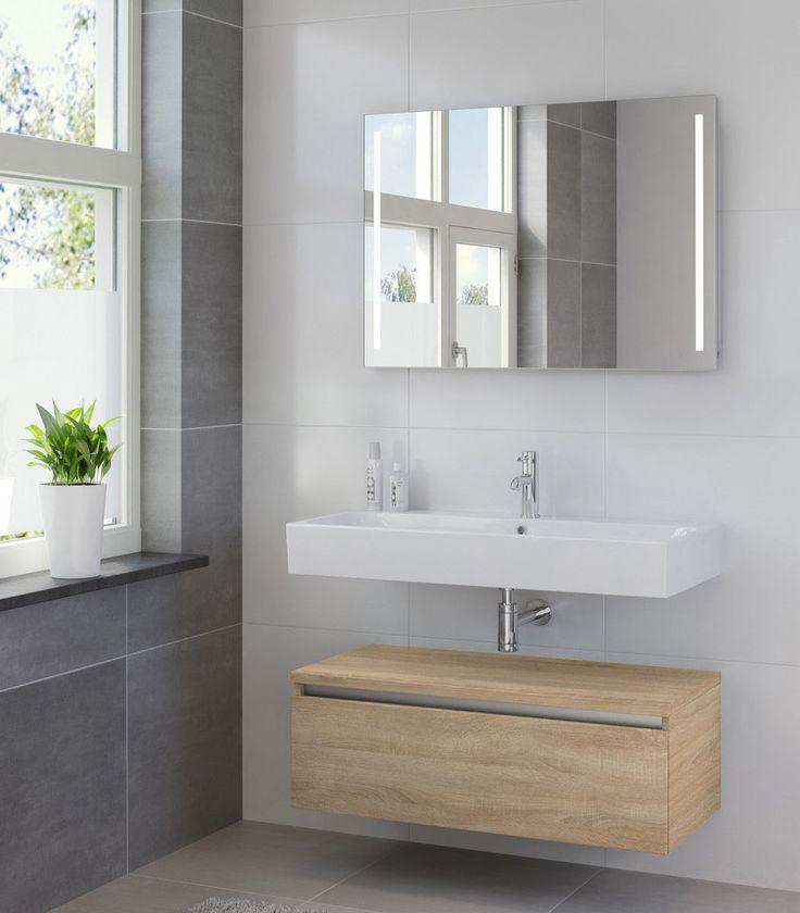 Modern badkamer meubel: stoere grote wastafel en losse wastafel kast onder de wastafel