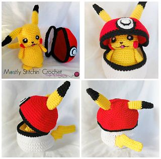 Peek-A-Boo Pikachu! Pikachu doesn't really like to be trapped in his Pokéball, but he's just fine as long as he can still sneak a peek out! This Pokémon inspired pattern will be a must have for all Pokémon fans! Great to make as a gift or for yourself! Not only is the pattern fun to make, Pikachu is also great to cuddle!