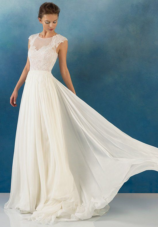 Alyne by Rivini...Sheer illusion bodice with lace applique detail over a flowing chiffon skirt