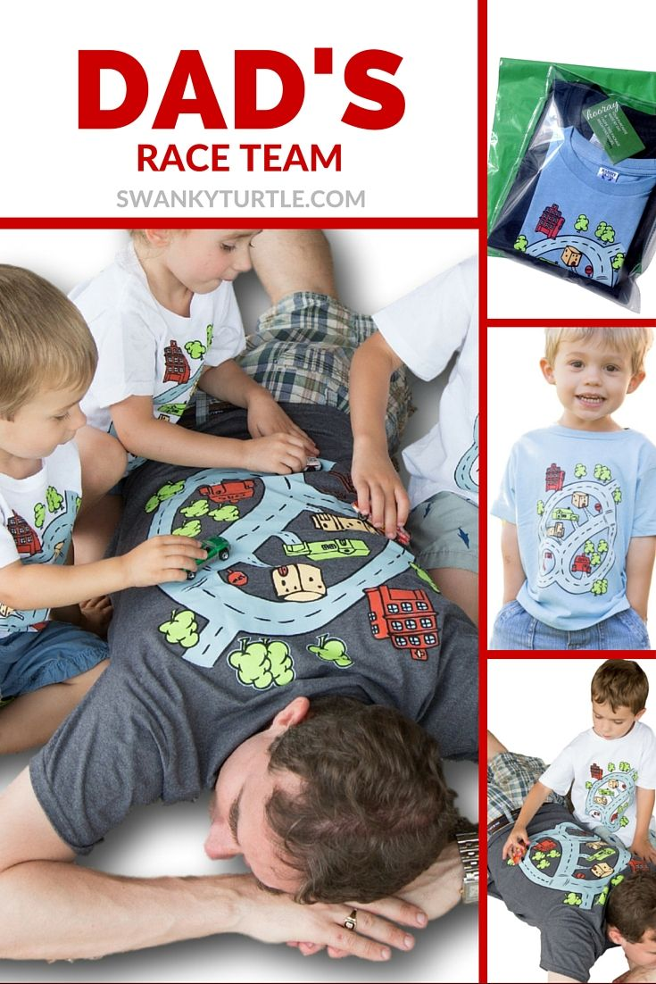 Best Dad Matching Father Son Shirts with race track on back of dad's shirt and front of baby's shirt.