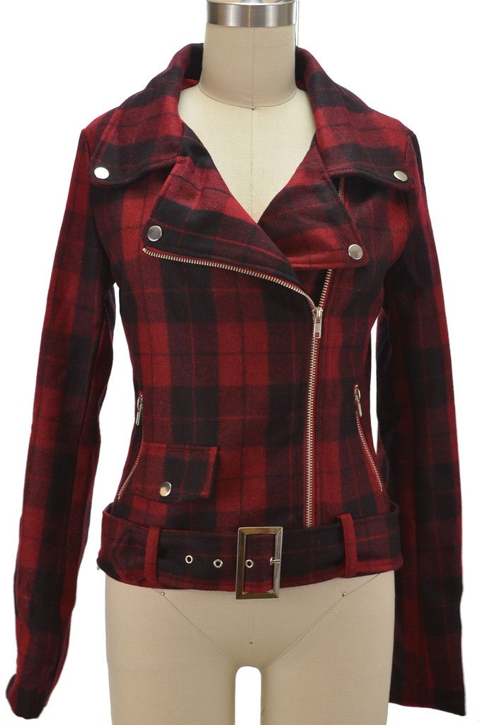 punk rock pinup wool blend motorcycle jacket - red plaidfrom le bomb shop. I am in love!