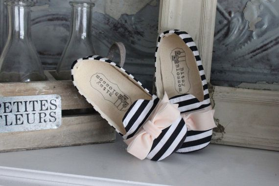 Baby Girl Shoes Toddler Big Girl Shoes Soft Soled Shoes Christmas Shoes Holiday Shoes Winter Shoes Striped Shoes Black White Shoes- Harlow on Etsy, $36.00