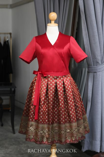 Pailin Thai Dress เดรสไทยประยุกต์ ไซส์ใหญ่ สาวอวบ ผ้าไหม ...