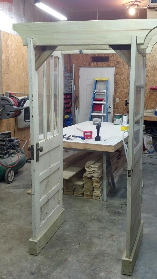 Garden arbor made from two old doors.