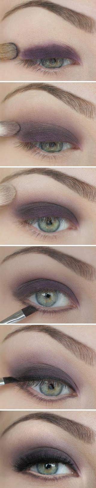 Smokey purple eyeshadow.Purple Eyeshadows, Eye Shadows, Smoky Eye, Pretty Makeup, Purple Smokey, Green Eyes, Dark Purple, Smokey Eye, Eye Makeup Tutorials