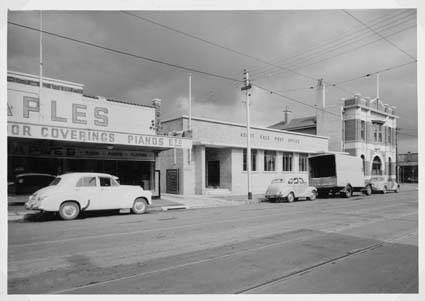 Maples Store, Ascot Vale Post Office, and the State Savings Bank of Victoria in Union Rd, Ascot Vale, 1950s. https://www.facebook.com/photo.php?fbid=360814240724577&set=a.264506970355305.1073741841.152748178197852&type=1&theater