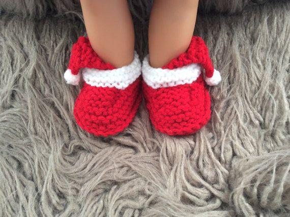 Stivaletti di mano maglia bambino booties-Natale di cecivladova