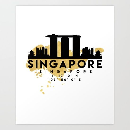 SINGAPORE SILHOUETTE SKYLINE MAP ART - The beautiful silhouette skyline and map of Singapore, with the exact coordinates of it make up this amazing art piece. A great gift for anybody that has love for this city.  graphic-design digital typography illustration vector singapore downtown silhouette skyline map coordinates souvenir gold deificus-art