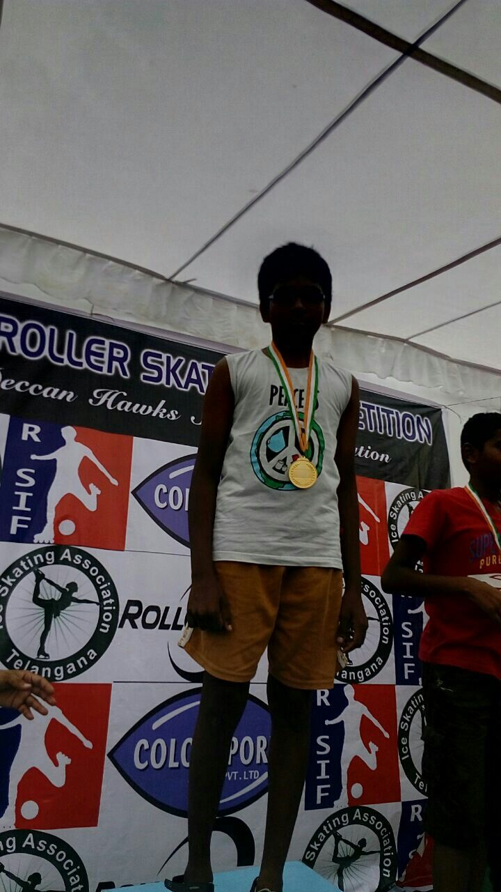 Nehardh won gold medal in inter school skating competition