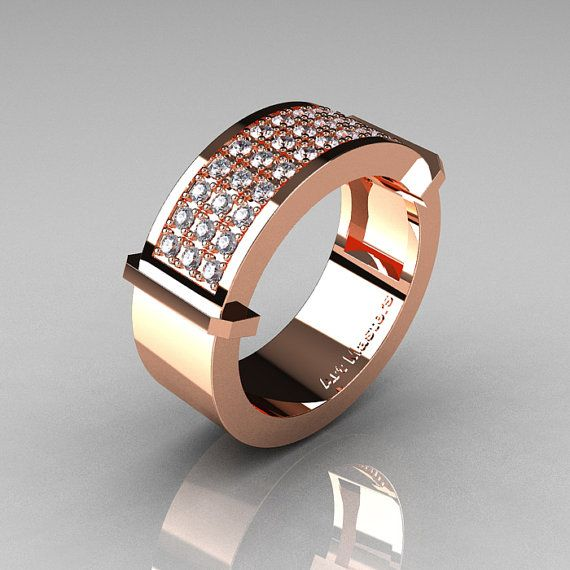 Gentlemens Modern 14k Rose Gold 33 Stone Diamond Ring