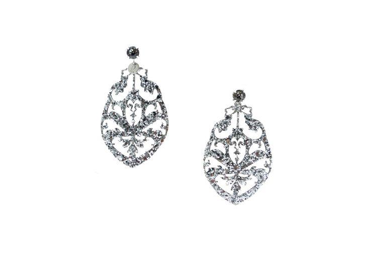 Orecchini in tessuto glitter #silver #bijoux #pepitosa #glitter #luxury
