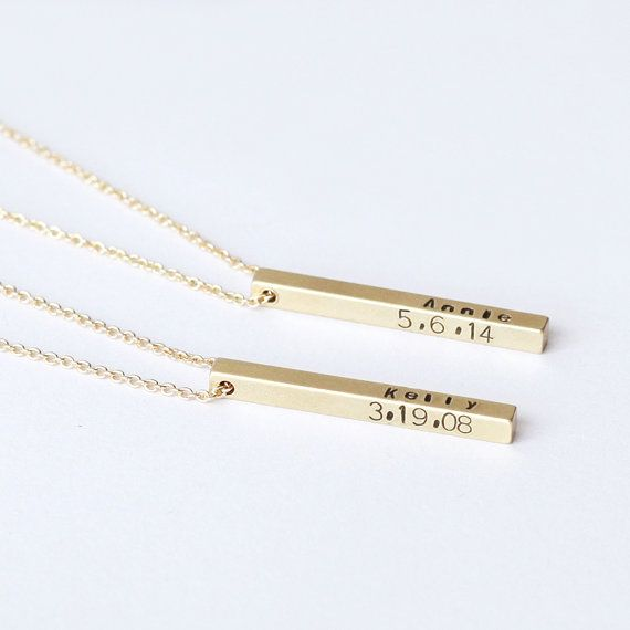 9f3cb3695801f wedding date Bar Necklace, Personalized Name 3D Bar Necklace ...
