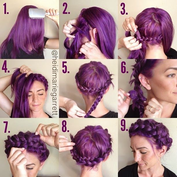 The step-by-step for no-part crown braid | PinTutorials