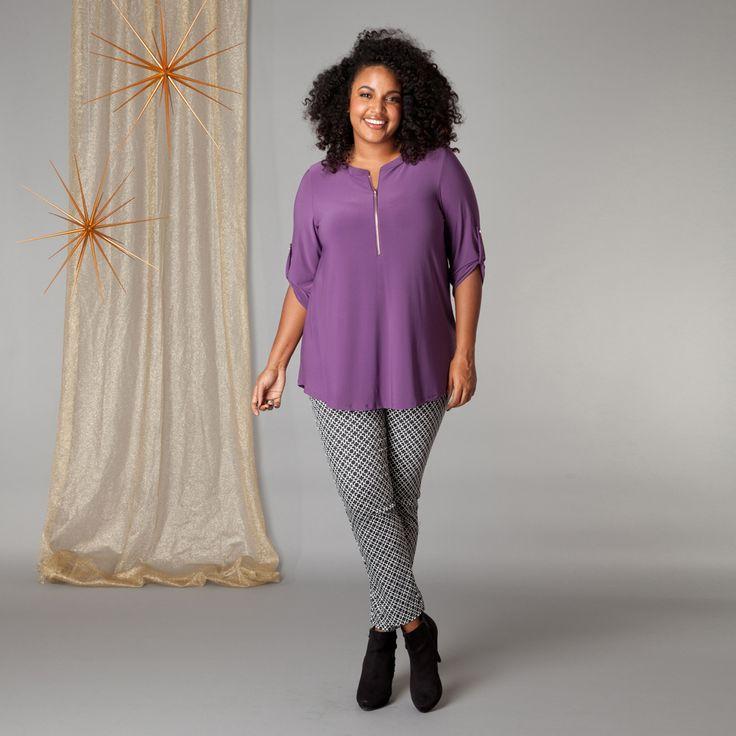 Dit stoere shirt heeft een fijne 3/4 mouw met ophaal, een kleine opstaande kraag en een rits waarmee u uw halslijn naar wens kunt verstellen. De stof ... Bekijk op http://www.grotematenwebshop.nl/product/shirt-van-x-two-voor-vrouwen-met-grote-maten-10/
