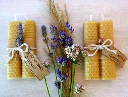 Hand Rolled beeswax candles | Felt