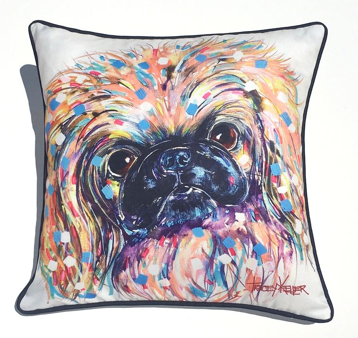 Pekingese Puppy Indoor/Outdoor Cushion Cover - Tracey Keller