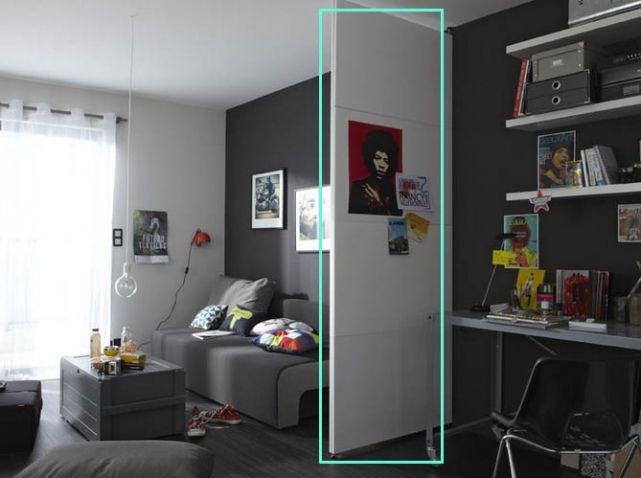 Studio avec cloison amovible leroymerlin une cloison pour cacher le frigo ?
