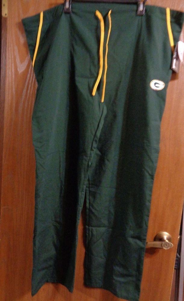 New NFL Green Bay Packers Scrubs Pants Nursing/Medical Uniform Size 2xl 2x Nwt