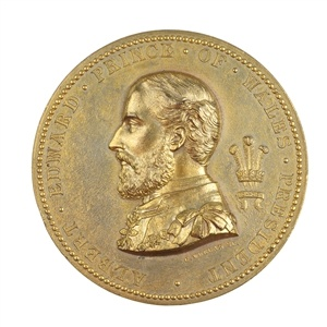 London, Fine Arts Exhibition 1873, lead-gilt medal.