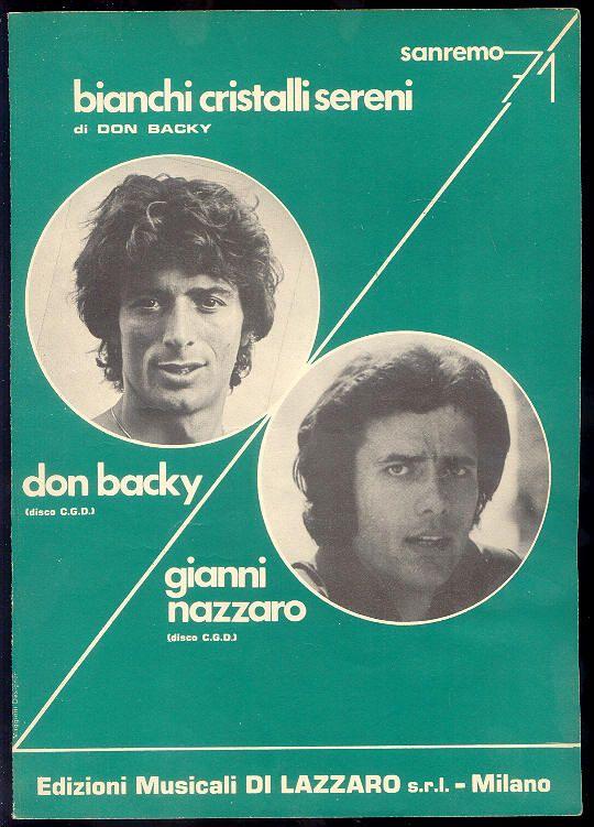 """Don Backy + Gianni Nazzaro """"Bianchi cristalli sereni"""" (spartito) Sanremo 1971"""