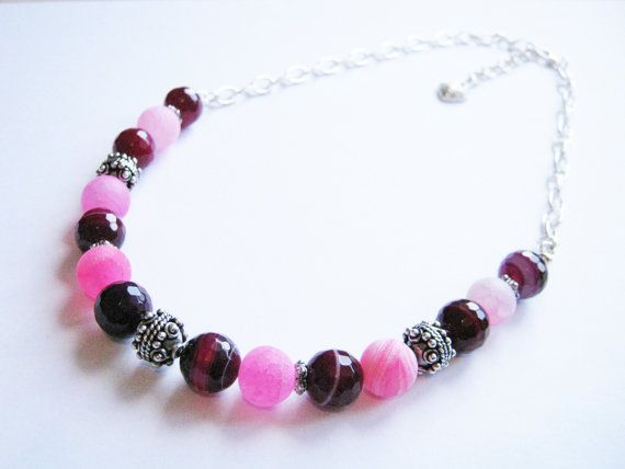 Pink Agate and Bali Silver Necklace Gemstone Beaded Necklace