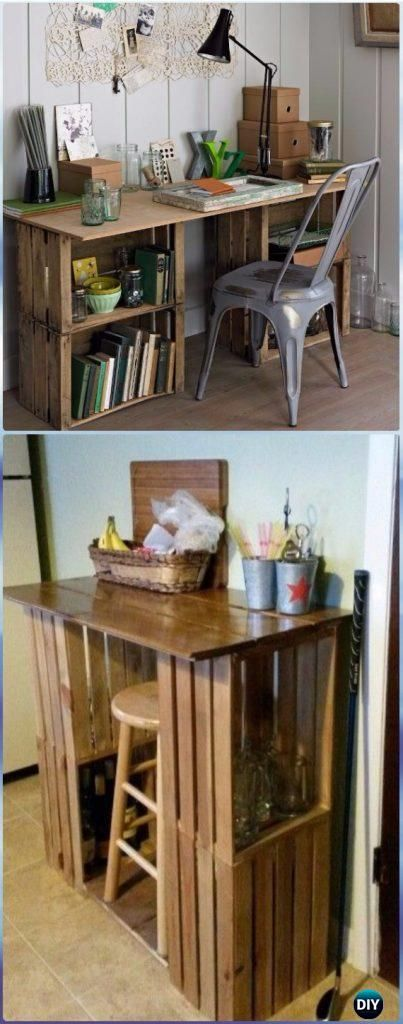 DIY Wood Crate Office Table Instructions – DIY Wood Crate Furniture Ideas Projec…  – Future studio ✨