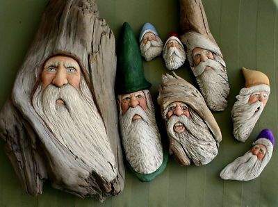 Found wood santas...can be very creative with found dift wood...or just an old pc. of wood found.  Look for them !